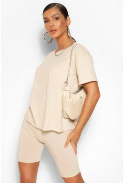 Stone beige T-Shirt Cycle Short Co-ord Set