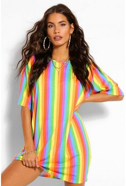 Red Rainbow Stripe T-Shirt Dress