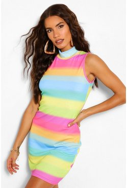 Red Rainbow High Neck Bodycon Dress
