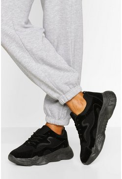 Black Wide Fit Chunky Sole Trainers