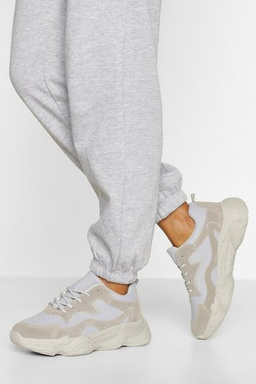 Grey Wide Fit Chunky Sole Trainers
