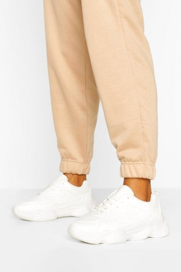 White Wide Fit Chunky Sole Trainers