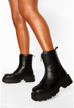 Black Wide Fit Chunky Sole Zip Front Boots