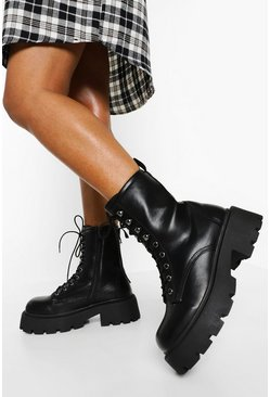 Black Wide Fit Chunky Sole Hiker Boots