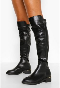 Black Wide Fit Flat Knee High Boots