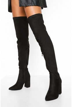 Black Wide Fit Block Heel Over The Knee Boots