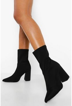 Black Wide Fit Block Heel Pointed Toe Sock Boots
