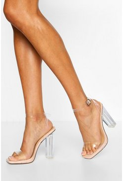Nude Wide Fit Clear Block Heel Two Parts