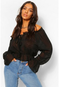 Black Metallic Thread Dobby Chiffon Blouse