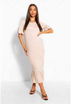 Stone beige Drop Hem Frill Sleeve Midi T-Shirt Dress