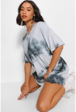 Charcoal grey Tie Dye Oversized T-Shirt Dress