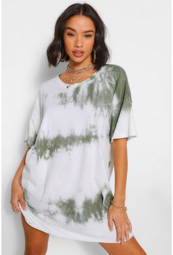 Khaki Tie Dye Oversized T-Shirt Dress