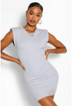 Grey Ribbed Shoulder Pad Mini Bodycon Dress