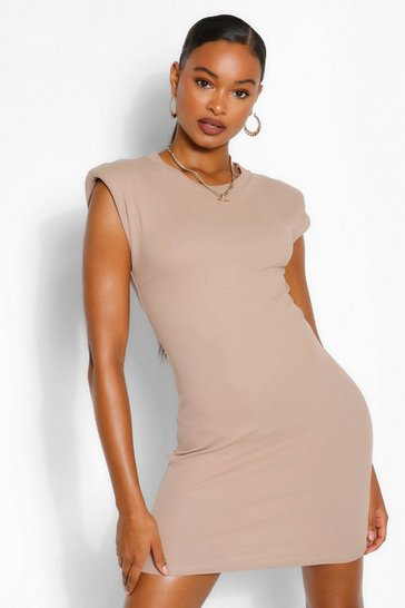 Stone beige Ribbed Shoulder Pad Mini Bodycon Dress