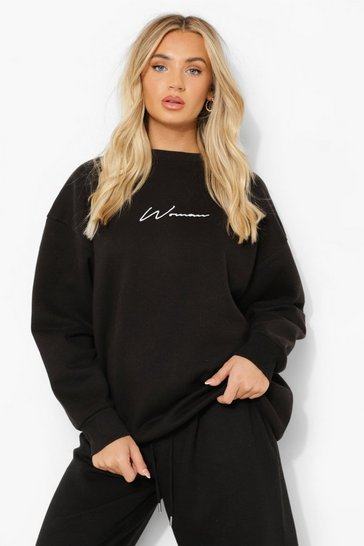 Black Oversized Embroidered Woman Script Sweatshirt