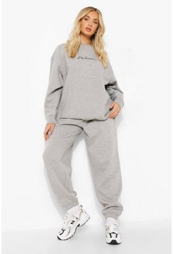 Grey marl grey Oversized Embroidered Woman Script Sweatshirt