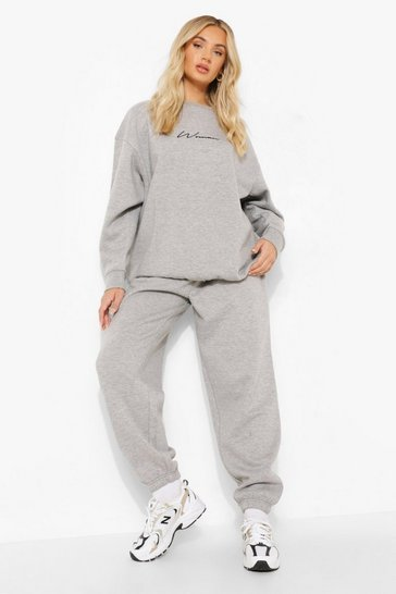 Grey marl grey Grey Oversized Embroidered Woman Script Sweatshirt