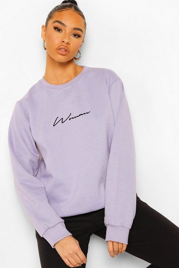 Lilac purple Purple Oversized Embroidered Woman Script Sweatshirt