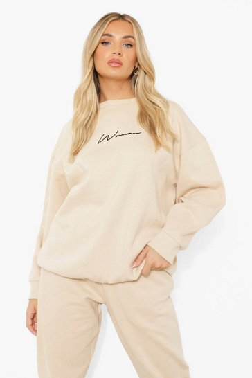 Stone beige Oversized Embroidered Woman Script Sweatshirt