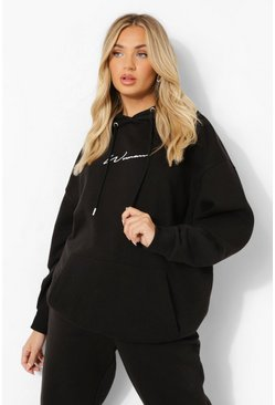Black Oversized Embroidered Woman Script Hoodie