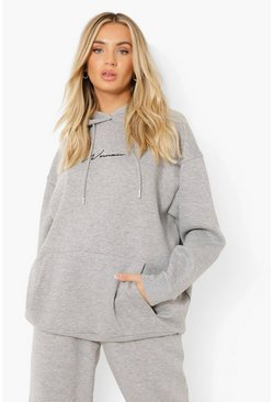 Grey marl grey Oversized Embroidered Woman Script Hoodie