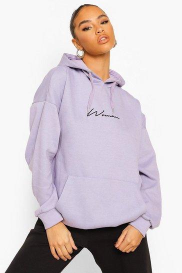 Lilac purple Purple Woman Signature Oversized Hoodie