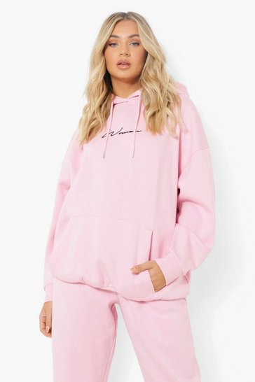 Pale pink pink Pink Oversized Embroidered Woman Script Hoodie