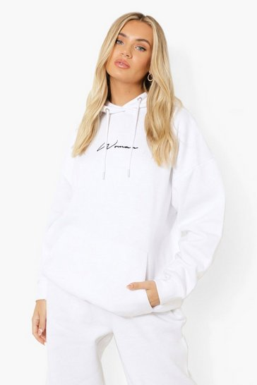 White Oversized Embroidered Woman Script Hoodie