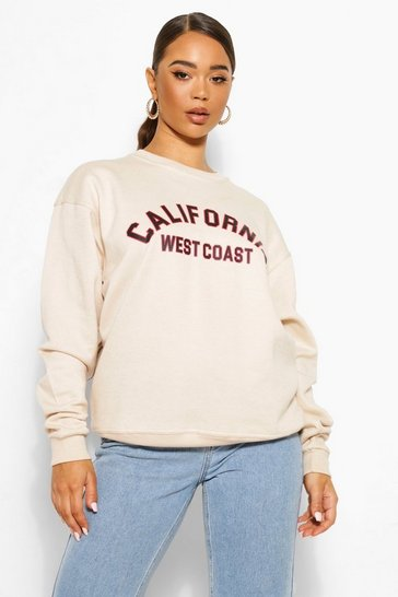 Stone Oversized California Slogan Sweatshirt