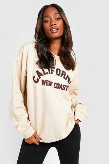 Stone beige Beige California Slogan Oversized Sweatshirt