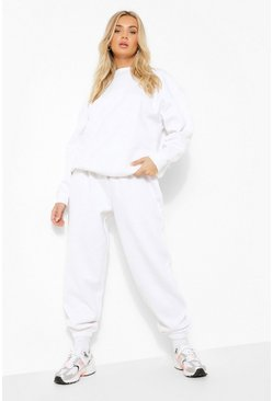 Basic Oversized-Jogginghose, Weiß