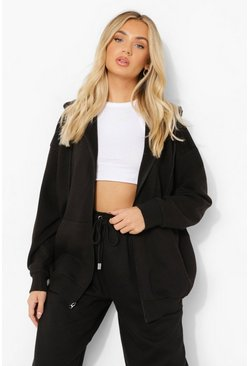 Black Basic Oversized Zip Through Hoodie