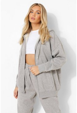 Grey marl grey Basic Oversized Zip Through Hoody