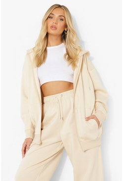 Stone beige Basic Oversized Zip Through Hoodie
