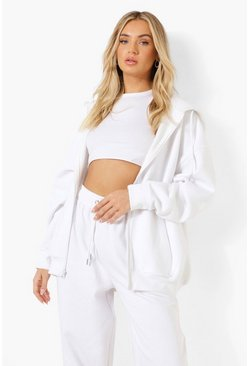 White Basic Oversized Zip Through Hoody