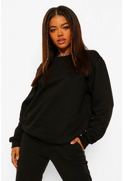 Black Basic Oversized Sweatshirt
