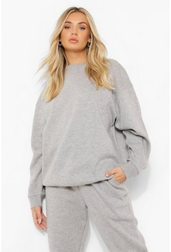 Grey marl grey Basic Oversized Sweatshirt