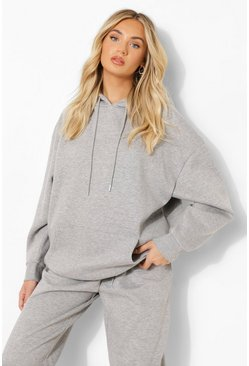 Sweat à capuche oversize basique, Grey marl gris