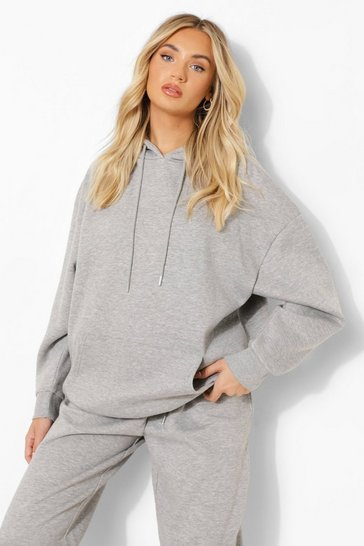 Grey Marl Basic Oversized Hoody