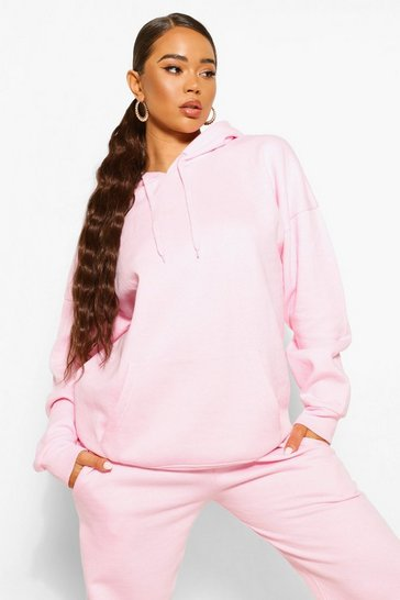 Pale pink pink Pink Basic Oversized Hoodie