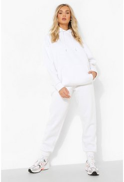 Sweat à capuche oversize basique, White blanc