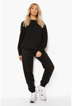 Black Basic Cuffed Hem Joggers