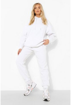 White Basic Cuffed Hem Joggers