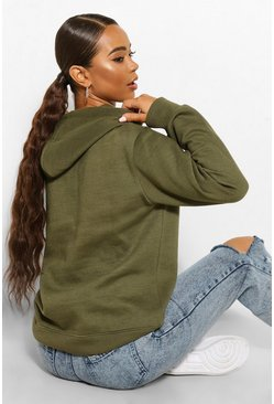 Khaki Basic Over the Head Hoody