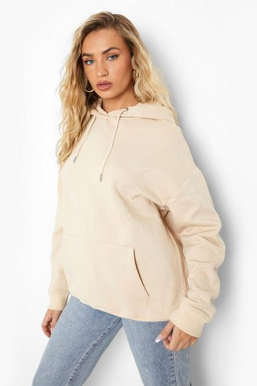 Sand beige Beige Basic Over The Head Hoodie