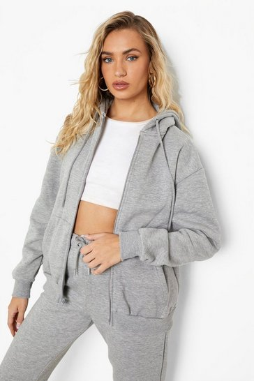 Grey Marl Basic Zip Through Hoodie