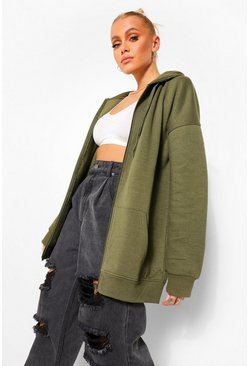 Khaki Basic Zip Through Hoodie
