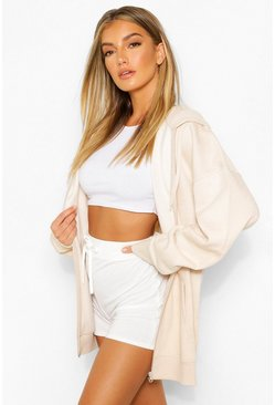 Stone beige Basic Zip Through Hoodie