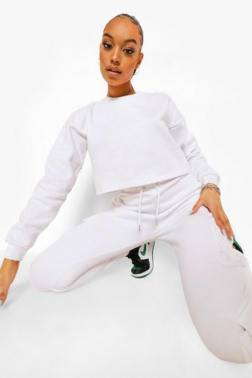 White Basic Crop Sweatshirt
