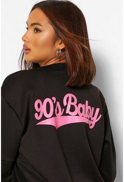 Black 90s Baby Back Print Bomber Jacket